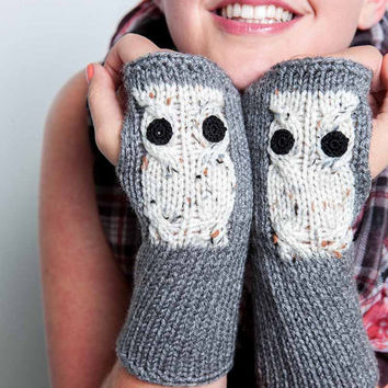 Knit Fingerless Gloves Knit Gloves Grey Knit Arm Warmers Fingerless Mittens Knit Hand Warmers Grae Knit Wrist Warmers Cream Owl Gloves