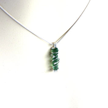 Beach Glass Necklace, Green Sea Glass, Sea Glass Pendant, Sterling Silver, Nautical, Beach, Handmade