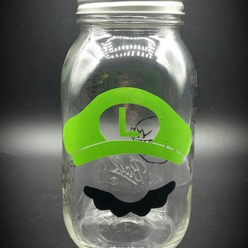 Super Mario Luigi Inspired Mason Jar Piggy Bank Vinyl Decal Green and Black Vinyl