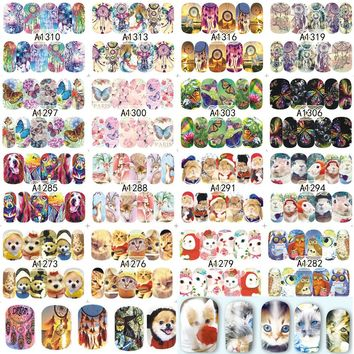 48 Sheets Nail Art Tips New Arrival Dream Catcher Animal Nails Sets Decor Manicure for Nail Sticker Water Decals TRA1273-1320