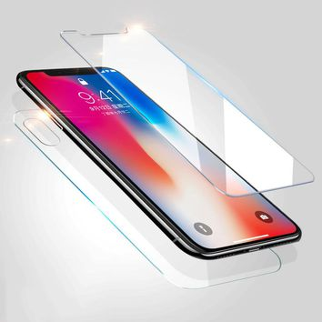 2pc/Lot Front + Back Premium Tempered Glass film For iphone On X 10 case cover Screen Protector Toughened Glass For iphone 10 X