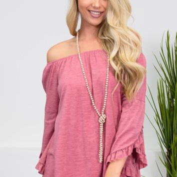 Rosy Brick Off-Shoulder Top