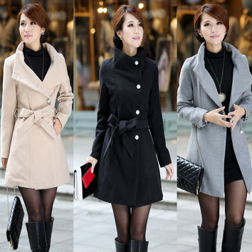Turn-down Collar OL Style Slim Wool Long Coat With Belt on
