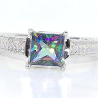 Genuine Mystic Topaz Princess Cut Ring White Gold Quality