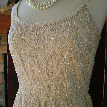 SALE Wedding dress champagne taupe short beaded dress jacket 1960s jackie o inspired dress destination reception alternative dress