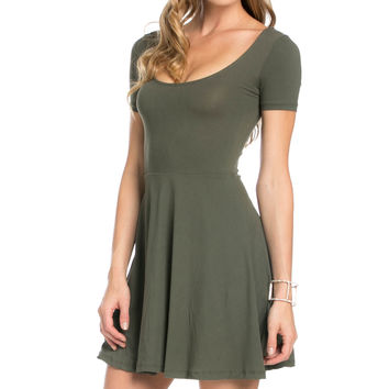 Micro Suede Olive Mini Dress