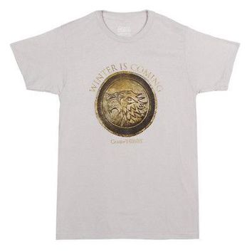 Game Of Thrones Bronze Stark Wolf Logo Licensed Adult Unisex T-Shirt - Grey