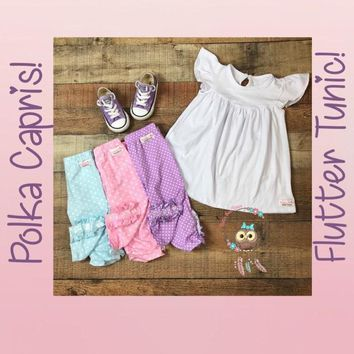 EXTRAS-Madeline Kate! Supreme Quality!! Flutter Tunic and Polka Dot Capri pants! Preorder 0750* Closed Feb 13th