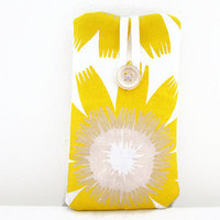 Yellow flower phone cover , hand printed fabric phone sleeve case , suitable for Iphone 5s 5c 4s  UK seller