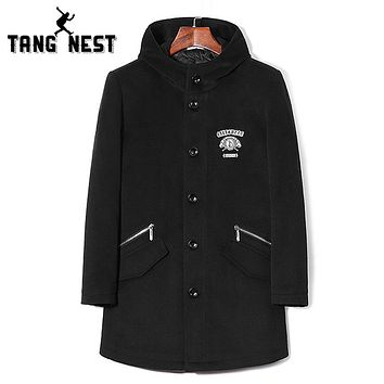 Men Fashion Cool Autumn and Winter Wool & Blends Black Button New Design Warm Fitness Coat