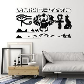 Vinyl Wall Decal Ancient Egypt Hieroglyphics Symbol Scarab Beetle Stickers Mural (g2943)