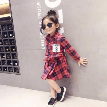 3-8 yrs  Girl Plaid Dress Super Number 8 Printed Children Clothing Cotton Long Sleeve Baby Girl Dresses