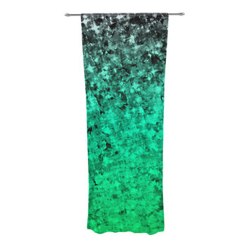 "Ebi Emporium ""Romance Me Green"" Teal Glitter Decorative Sheer Curtain"