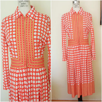 Vintage 1970s Orange Dress / 70s Mod Print Dress / Modprint Dress / Orange and White / 1970s Handmade / Secretary Dress / 70s Day Dress