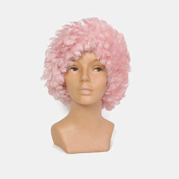 Vintage 60s FEATHER HAT / 1960s Oversized Hair Snood Pastel Pink  Wig