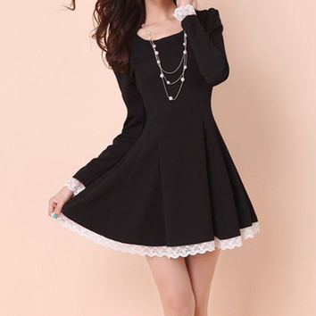 Solid Color Lace Trimmed Skater Dress