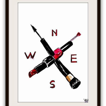 Compass art, MAC, Lipstick pipe, Makeup brushes, Wall decor, watercolor painting, decal  decals, print, chanel, mascara, nail polish, poster