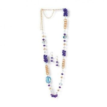 Beaded Radiant Orchid Long Chain Necklace And Earrings Set (pack of 1 SET)