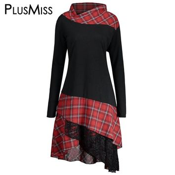 a1ee0b928bf PlusMiss Plus Size 5XL Vintage Lace Plaid Panel Tunic Long Top W