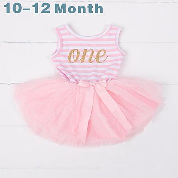 Summer Baby Girls Baptism Clothes Tutu Dress Gold Crown One Two Little Girl Dress 1 Year Birthday Party Costume