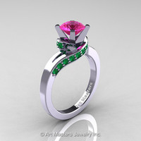 Classic 14K White Gold 1.0 Ct Pink Sapphire Emerald Designer Solitaire Ring R259-14KWGEMPS