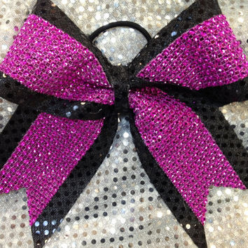 Black & Pink 3 inch Rhinestone Cheer/Dance Bow Ribbon