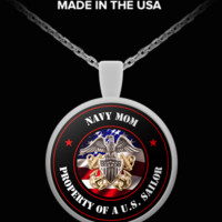 Military - Navy Mom - Property of a U.S. Sailor - Necklace