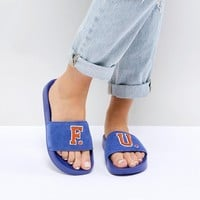 Puma X Fenty Suede Sliders In Blue at asos.com