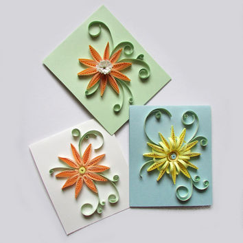 Pastel Quilling Flower Card Set, Set of 3 Greeting Cards with Quilled Flowers in Pastel Colors
