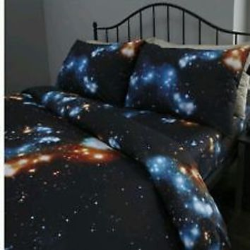 Black outer space king size duvet set from for Outer space fabric uk