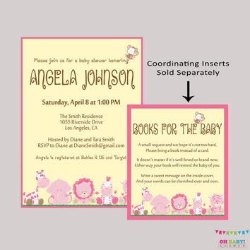 Best baby girl elephant baby shower invites products on wanelo safari baby shower pink girl invitation printable pink safari filmwisefo Images