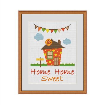 Home sweet home cross stitch, Counted cross stitch pattern, Cross stitch sampler, Easy cross stitch, Cute cross stitch, Modern cross stitch