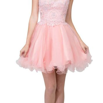Starbox USA S6413 Strapless Poofy Homecoming Dress Blush Sweetheart Neckline