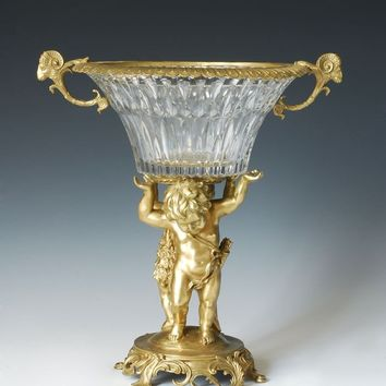 Classical Copper and Crystal Statue Bronze sculpture