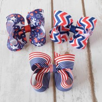 4th of July 3 inch hair bows in three patriotic patterns for baby girls toddlers on alligator snap clip barrette- Your Final Touch Hair Accessories