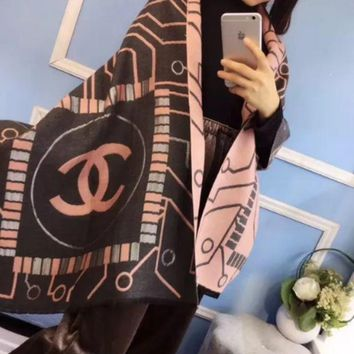PEAPIH3 Chanel Women Fashion Cashmere Warm Winter Cape Scarf Scarves