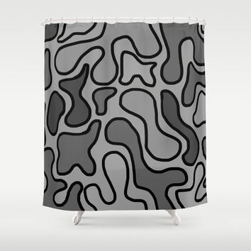 Black and Gray Shower Curtain - Original Art Shower Curtain - Bathroom Decor - Black and Grey Abstract Art - Made to Order