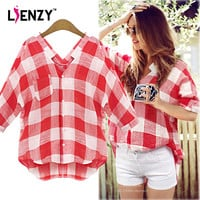 LIENZY Red Plaid Women Shirts Elegant Big Square Patchwork Deep V Neck Long Women Shirts For Summer Hot day Plus Size