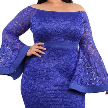 lue Plus Size Long Bell Sleeve Bodycon Lace Dress