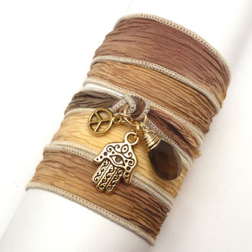 Silk Wrap Bracelet with Hamsa Peace Sign and by charmeddesign1012