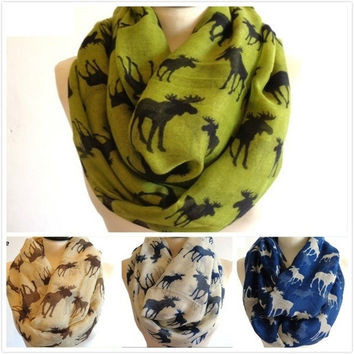 8 Colors Women Fashion Autumn Spring Pretty Gift Cute Moose Infinity Scarf = 1958090052