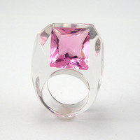 Pink Cubic Zirconia Ring, Clear Resin Ring with a Large Square Shaped Rose Zirconia