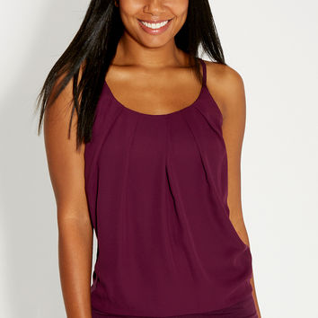 the tank with pleated chiffon front in dark fig