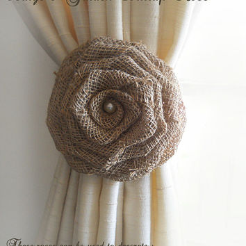 """Set of 2, Large 6"""" Handmade Garden Burlap Roses w Pearl for Country Weddings, Aisles, Pews, Chairs, Cake Toppers, Ties Backs. Made to Order."""