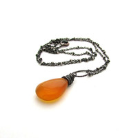 Amber necklace, amber chalcedony pendant, oxidized sterling silver wire wrapped necklace, honey chalcedony