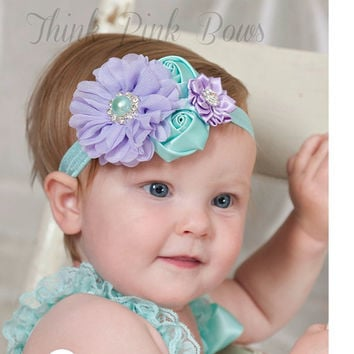Girls Pearl Rose Flower Elastic Hair Band Headband