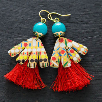 Unique Bohemian Dancing Tassel Earrings, Festival Jewelry, Hippie Earrings, Fan Earrings, Red Tassel Jewelry, Boho Chic Jewelry