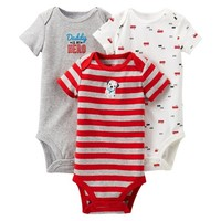 Just One You™Made by Carter's® Newborn Boys' Fire Truck 3 pack Short-sleeve Bodysuit Set - Red