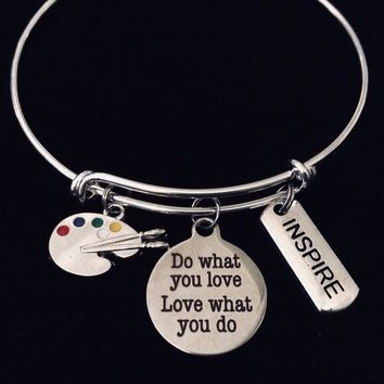 Do What You Love Painter Artist Inspire Word Stamped Tag Adjustable Expandable Bracelet Silver Plated Wire Bangle Charm Bracelet