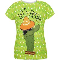 Cinco de Mayo Dabbing Cactus Let's Fiesta Party All Over Womens T Shirt